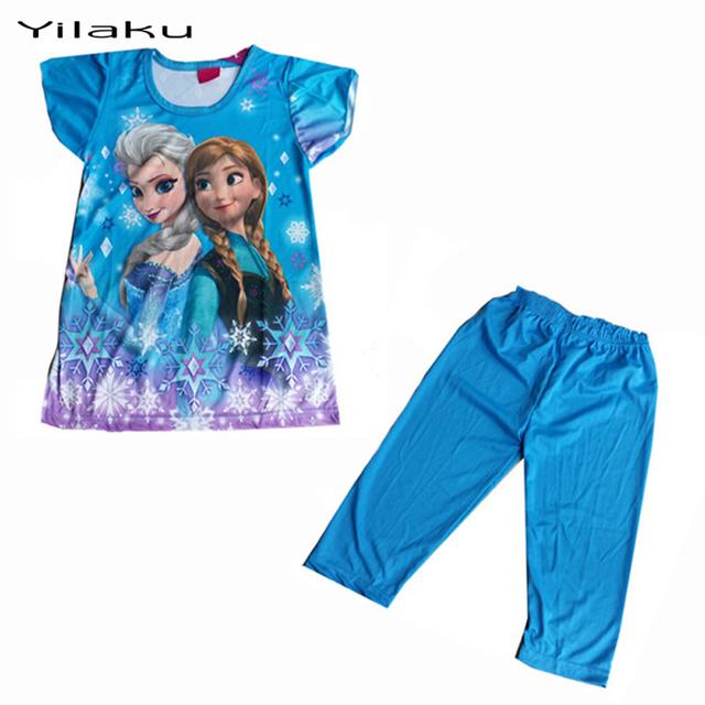 Детский мультфильм пижамы устанавливает девушки летом для детей с коротким рукавом Pijamas эльза анна девочка пижамы Pijama Infantil CK002