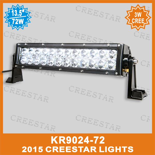 Double row amber white 3W Cree off-road truck wireless remote control light bar KR9024-72 72W led amber light bar(China (Mainland))