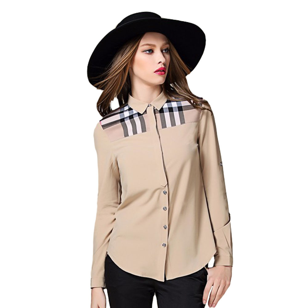 Summer New Design Brand Name Clothes Women Shirts Cotton Classic Khaki Check Stitching Shirt Size S-XL Reatil&Wholesale 6039-K(China (Mainland))