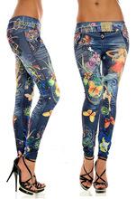 ADM 2015 Fashion Sexy Women Leggings Buttlefly Flower Printed Imitation Jeans Elastic Slim Punk Style Faux Denim Pencil Pants(China (Mainland))