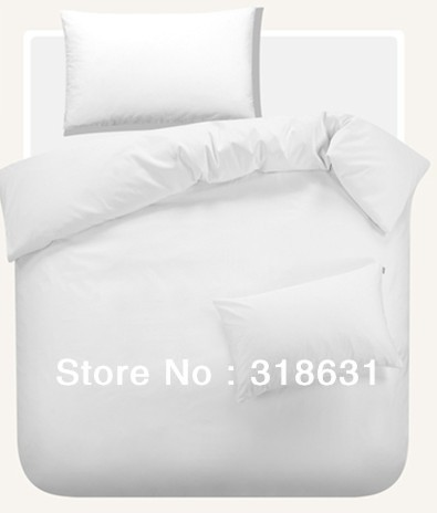 4 or 5pcs 250TC 100% Cotton Pure White Solid Pattern Hotel Bedlinen Doona Duvet Cover Set Comforter Sets in Full/Queen/King(China (Mainland))