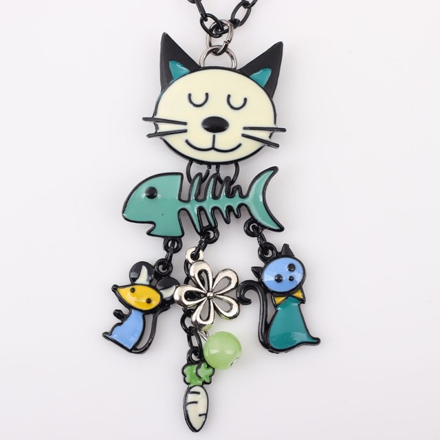 Colorful Yellow Cat Necklace