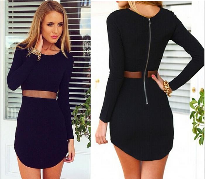 Plus size long sleeve tight dresses