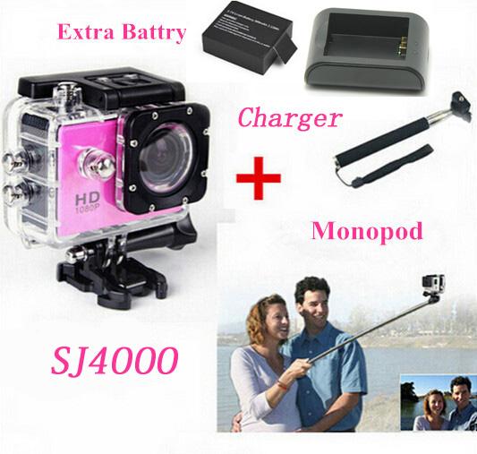 SJ4000 Action Video Cameras Diving Waterproof 1080P Camara Full HD Helmet Sports Cam + Extra Battery+Monopod+Charger(China (Mainland))