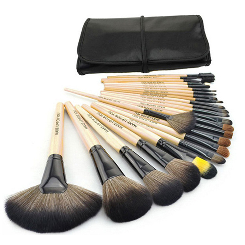 Free shipping Professional 24 Pcs Brand Cosmetics Makeup Brushes Tool Make up Brushes Set Wood color<br><br>Aliexpress
