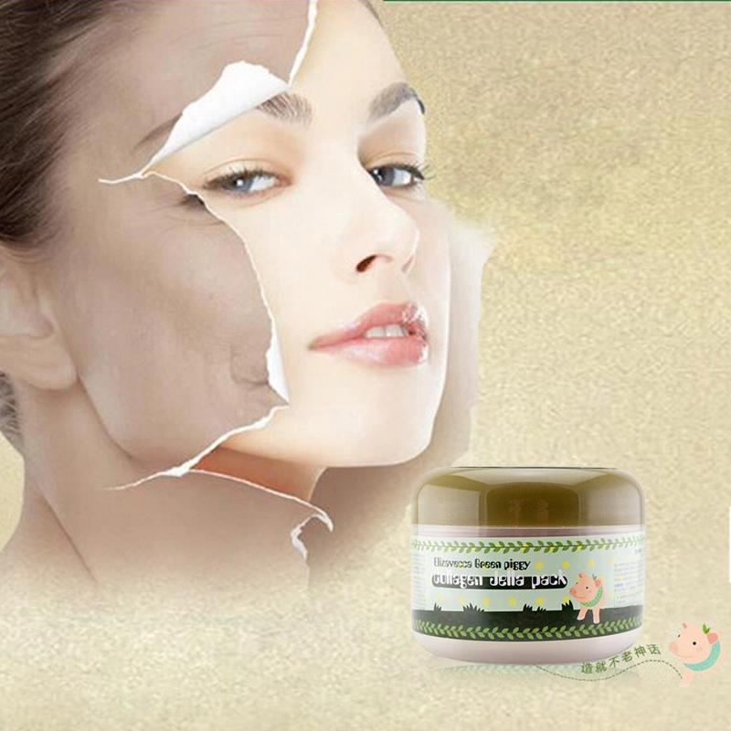 Beauty Sleep Colageno Green clay Face Mask Pigskin Collagen Facial Mask Anti Aging Anti-acne Whitening Moisturizing 100g(China (Mainland))
