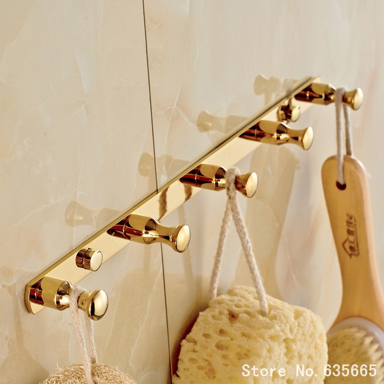 European Gold Bathroom Robe Hook Kitchen Door Rear Coat Clothes Hook Metal Fitting Bathroom Banheiro Sanitary Hardware Hanger(China (Mainland))