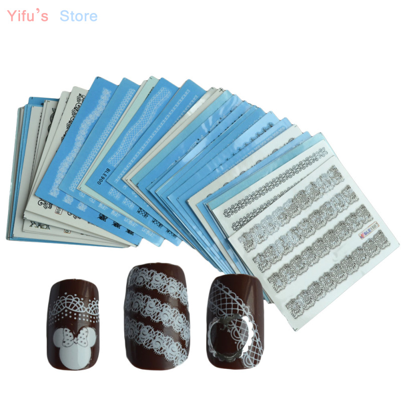 50pcs Beauty Water Transfer Black White Lace of Nail Art Decals Sticker on Nails Decorations Salon Care Manicure Tools y_NC180(China (Mainland))