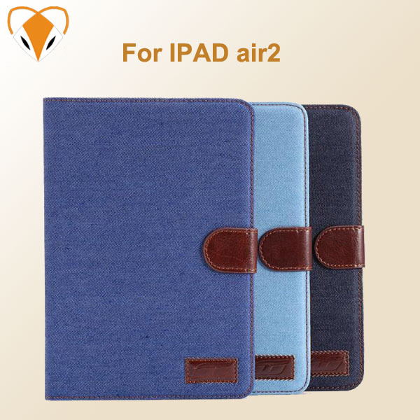For ipad air 2 free shipping protective shell magnetic denim cowboy holster Leather Case Cover for Apple ipad6 tablet pc(China (Mainland))