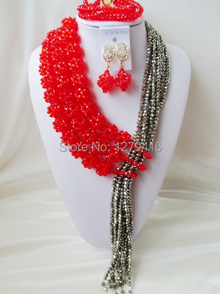 Fashionable luxurious wedding jewelry in Nigeria Africa bead set the bride set necklace bracelet earrings wedding outfit   A1377
