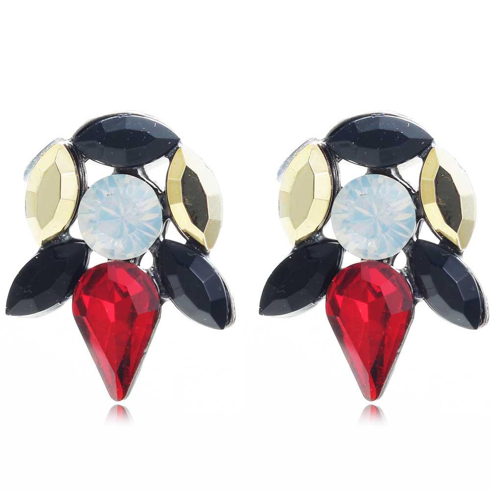 YaYi Gold Red Black White Glass Rhinestone Dangle Earring Women's Fashion Gun Black Gem Earrings For Women E1100(China (Mainland))