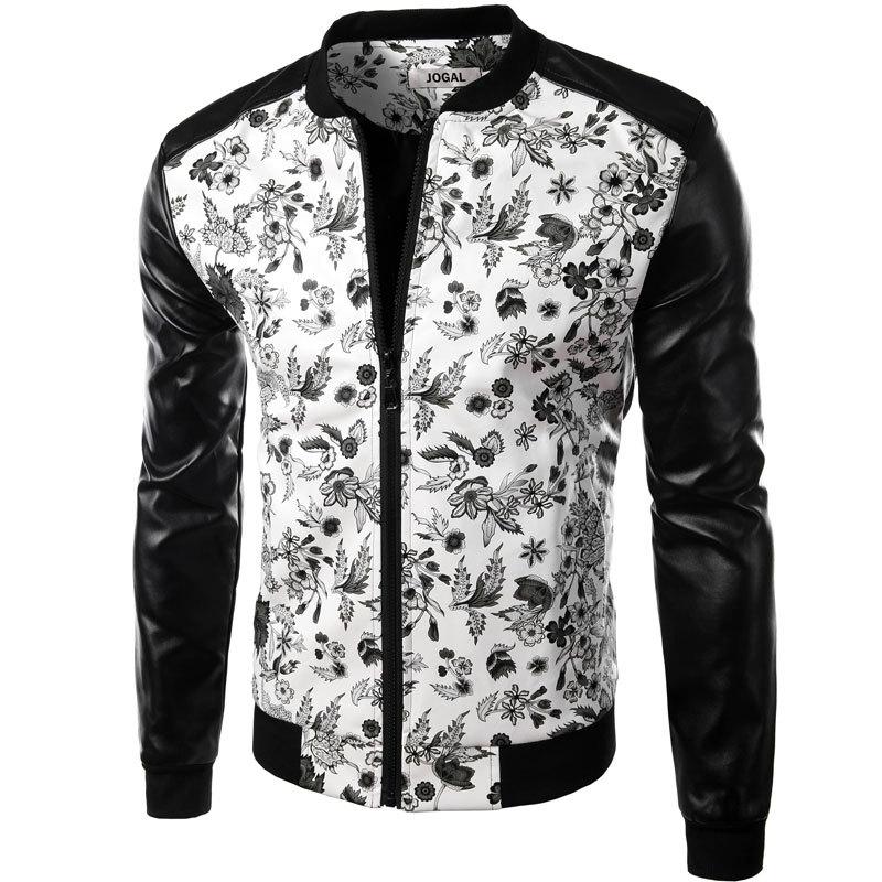 Brand White Pu Leather Men Shirt 2015 Fashion Design Floral Mens Slim Motorcycle Biker Baseball Jacket Stylish Printed Jaqueta(China (Mainland))