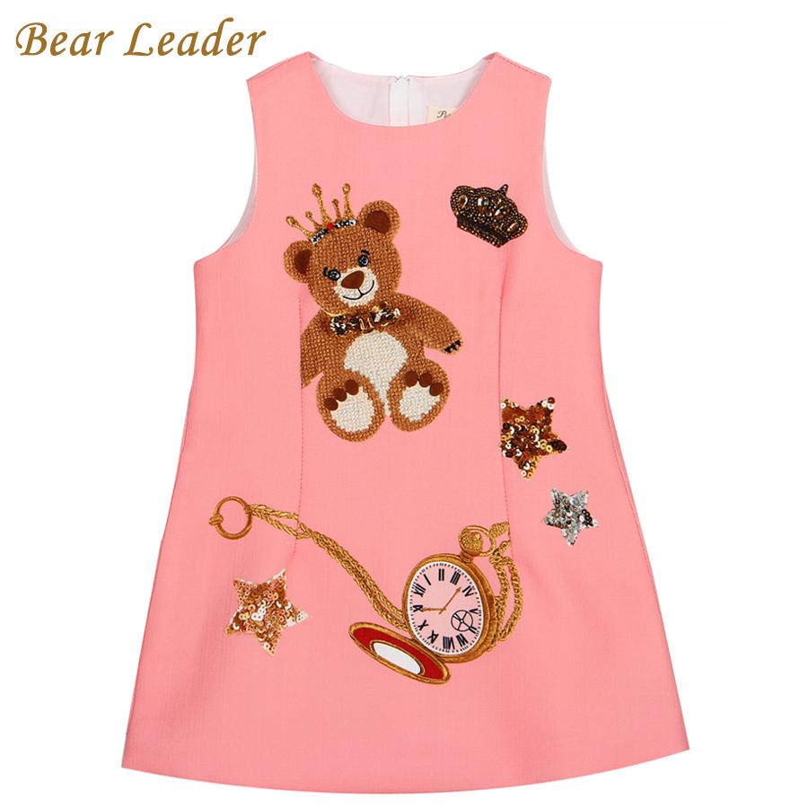Bear Leader Brand Girls Dress 2016 New Autumn Dress Girls Sleeveless Cartoon Litter Bear Printing Design for Princess Dresses(China (Mainland))