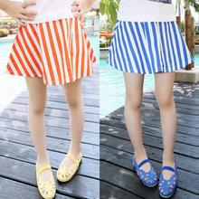 Girls Baby Toddler Flared Stripes Skirt Cotton Elastic Waist Mini Skirt 2-7Y