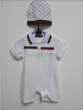 freeshipping 2014 fashion brand  rompers 100% cotton baby Rompers  baby girl baby boy rompers  with hat for 1-12M(China (Mainland))