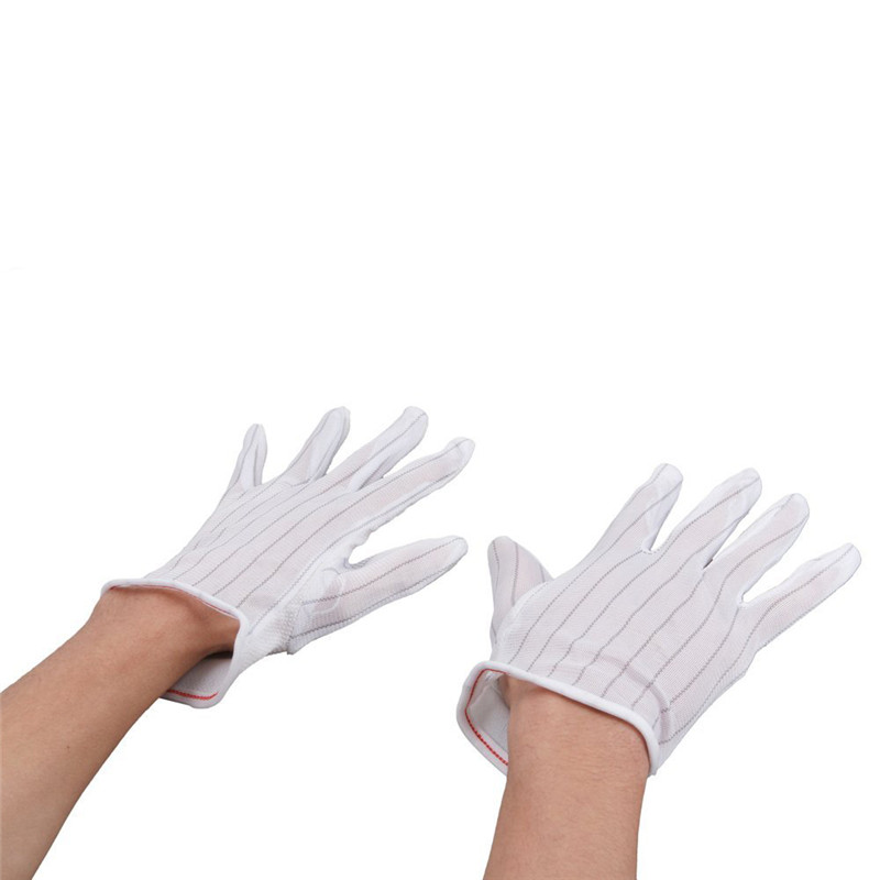 High Quality 1 Pair ESD PC Computer Working Antiskid Anti-static Anti-skid White Gloves New Polyester Hot Sale(China (Mainland))