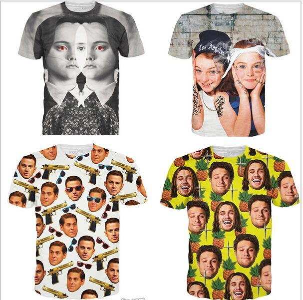 2015 newest t shirt 3d Wednesday Addams /The Parent Trap / 21 Jump Street / Pineapple Express printing tshirt women /mens tops(China (Mainland))