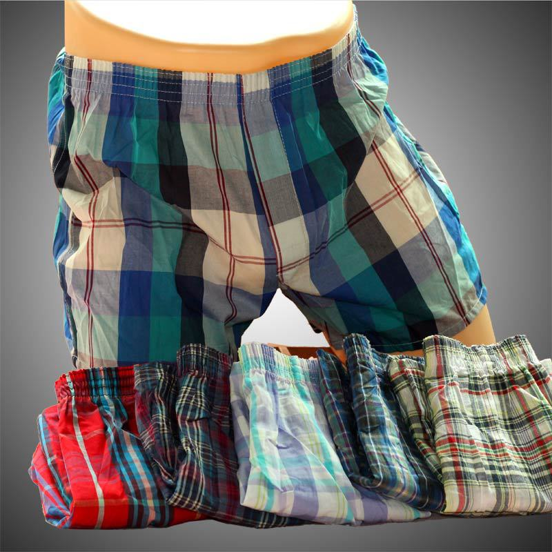 5Pcs/Lot Sexy Mens Underwear Boxers Male 100% Cotton Loose cuecas masculinas boxer shorts Men'S Home Plaid Underpants Tunks Free(China (Mainland))