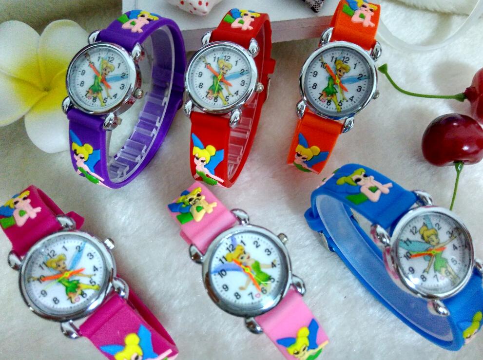 Free Shipping Orange PINK Tinkerbell 3D Cartoon Soft Silicone Wrist Watch Watches For Kids Children Girls Boy(China (Mainland))
