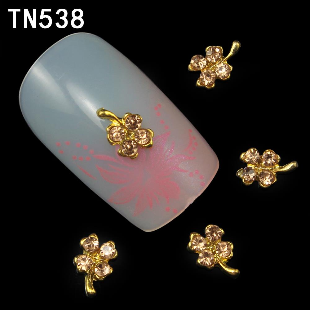 10Pcs New 2015 Alloy 3D Nail Art Decorations Gold Four Leaf Clover ...