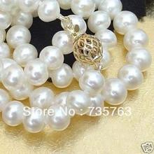 "xiuli 0092 18""10-11mm Akoya white pearl necklace 14Kg(China (Mainland))"