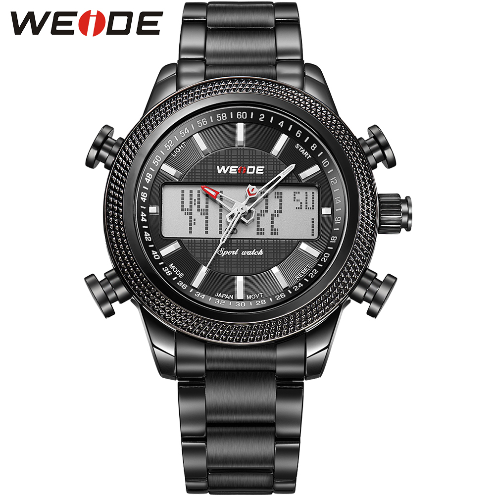 WEIDE New Unique Design Analog Digital Dual Movts Black White Stainless Steel Case Waterproof Fitness Tag Sport Watches For Men<br><br>Aliexpress