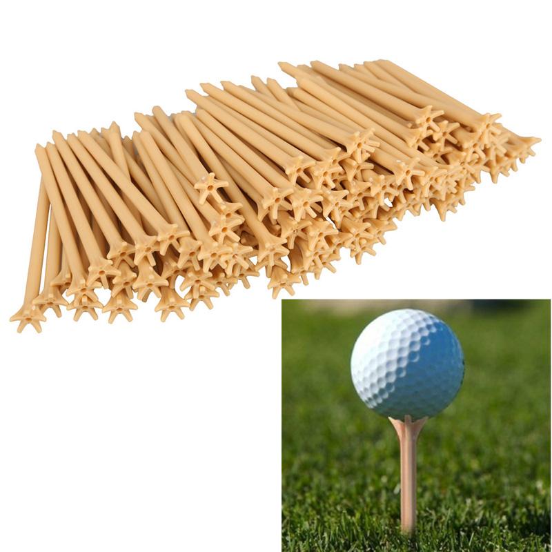 100 Pcs/Pack Professional Frictionless Plastic Golf Tee Wheat Golf Accessories BHU2(China (Mainland))