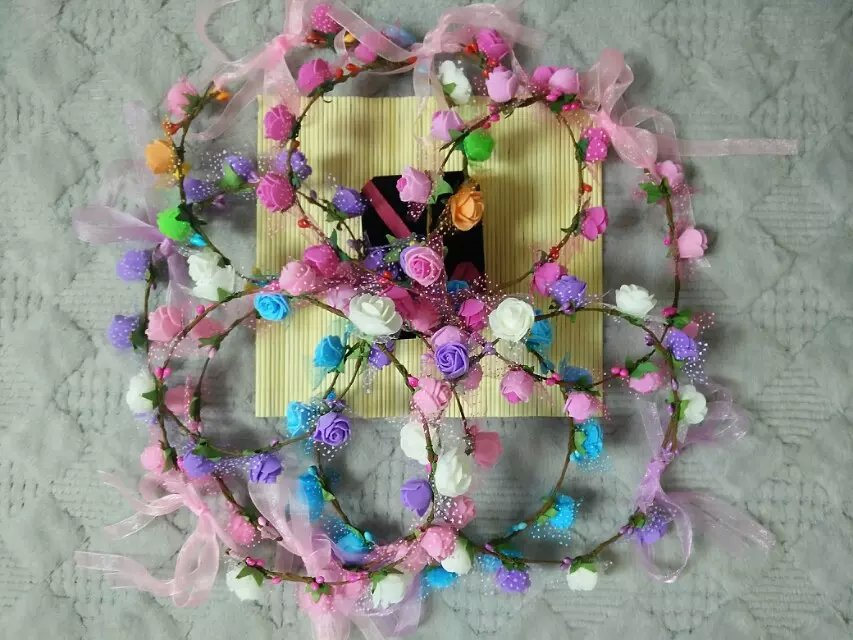High Quality artificial Flower foam rose Head Wreath Handmade Ribbon Head Band(China (Mainland))