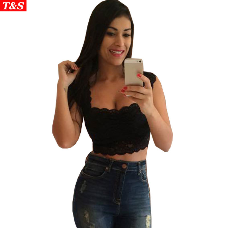 Summer Style Fashion 2015 Women Black White Lace Crop Top Sexy Floral Crochet Tank Top Cropped Top Bustier Women's Tanks Camis(China (Mainland))