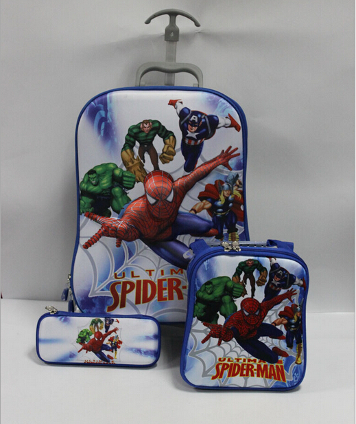 Hot! 2015 New cool fashion Spider-Man cartoon images three-piece hand lever burdens schoolbag(China (Mainland))