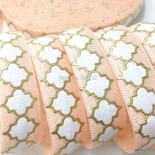"""Buy Gold Foil Four Clover Leaf Printed Fold Elastic Ribbon 5/8"""" Peach Clover Print FOE Ribbon DIY Hair Accessories 10Y/lot for $4.32 in AliExpress store"""