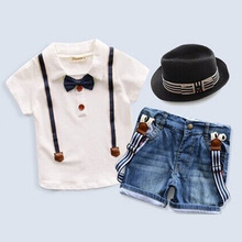 2016 new summer children clothing for boys white polo jeans shorts 2 pcs suit clothes baby boy tie t shirt