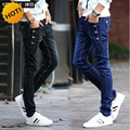 Fashion Teenagers Stretch Slim Fit Black And Blue Button Designers Casual Jeans Boys Hip Hop City