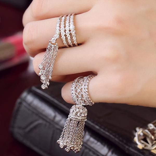 2016 korean women fashion silver plated Crystal Rings Tassel pendant wedding crown rings knuckle ring Full Finger Rings(China (Mainland))