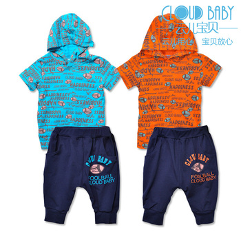 Male baby child rugby with a hood short-sleeve set baby t-shirt knee-length pants children