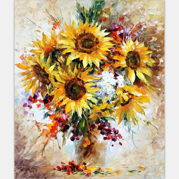 hand painted canvas oil paintings on canvas by numbers decoracion hogar in bedroom flowers 40X50cm packing with roll G453