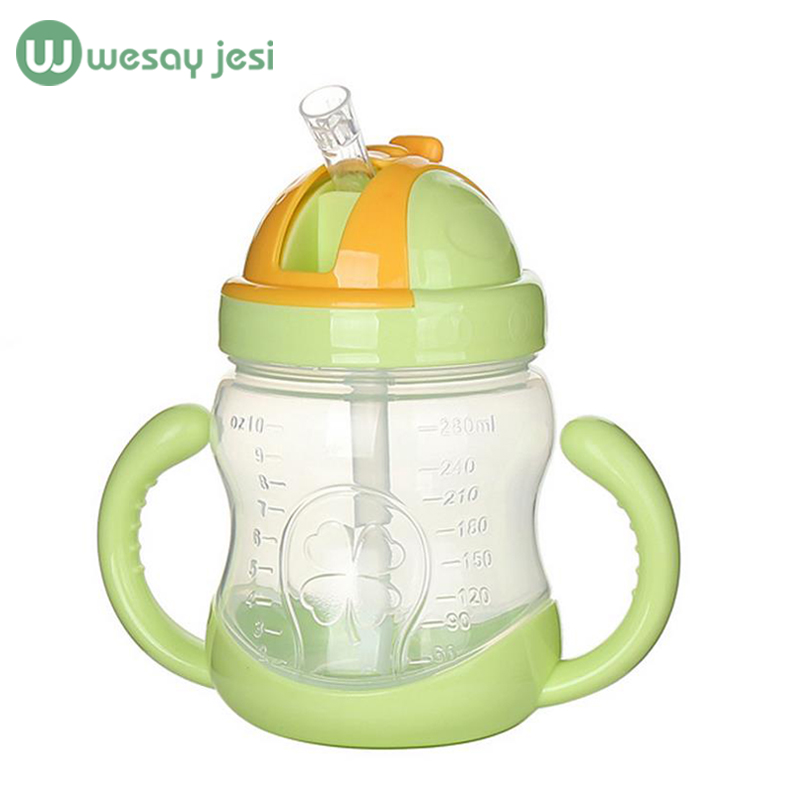280ML infant Baby Feeding Bottle silica gel Nursing Bottle Feeding water bottle kids Straw Cup Drinking Sippy Cups With handles