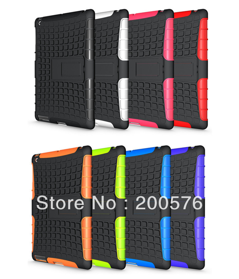Mix color For iPad 2 For iPad 3 For iPad 4 Dual Armor TPU&amp;PC Hybrid case with Stand For ipad Free Shipping DHL 5PCS<br><br>Aliexpress
