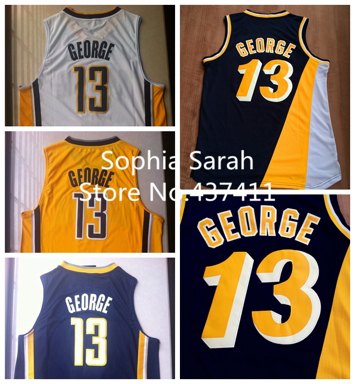 New Arrival !!! Indiana #13 Paul George White Yellow Dark Blue Throwback Brand Basketball jersey ,Size:S-XXL ,Free Shipping(China (Mainland))
