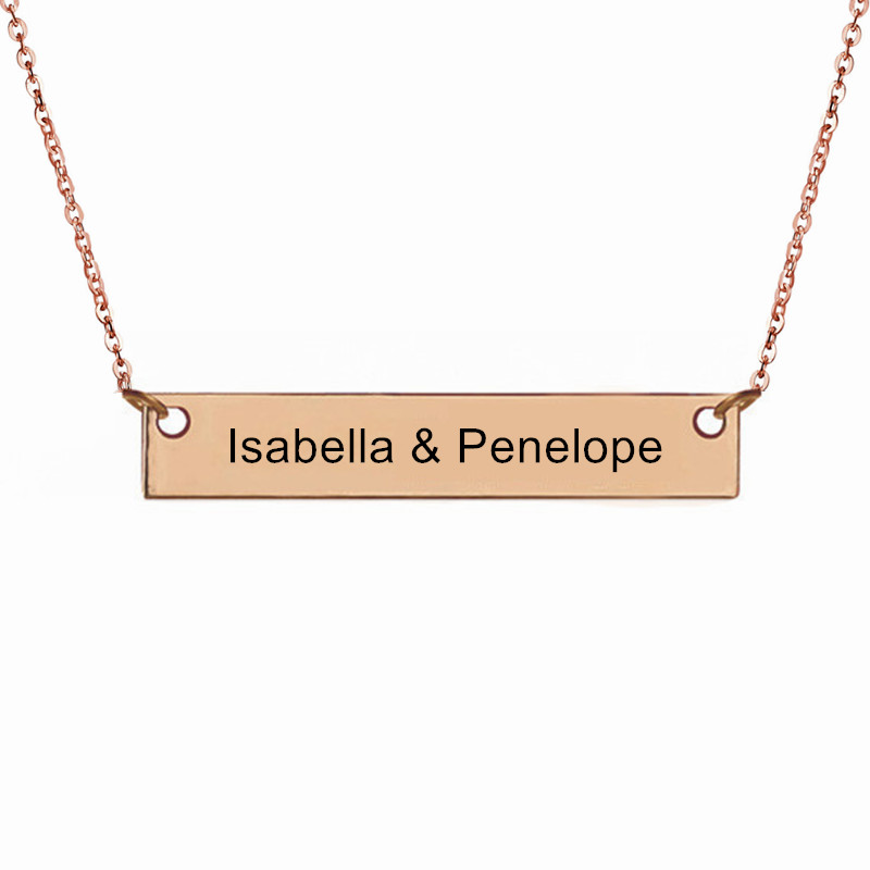 Personalized 18K Rose Gold Name Plate Necklace,Gold Engraved Bar Necklace,Name Plate Necklace,Engraved Necklace ,Best gift(China (Mainland))