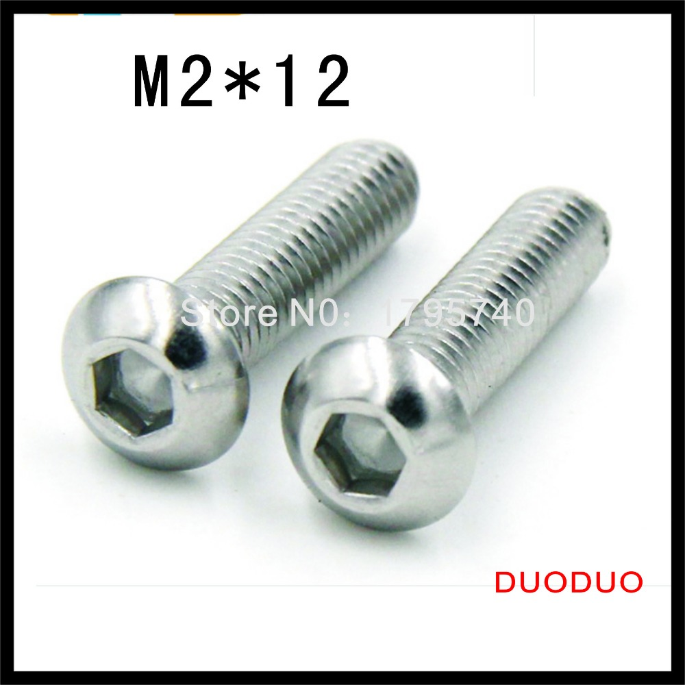 1000pcs ISO7380 M2 x 12 A2 Stainless Steel Screw Hexagon Hex Socket Button Head Screws<br><br>Aliexpress