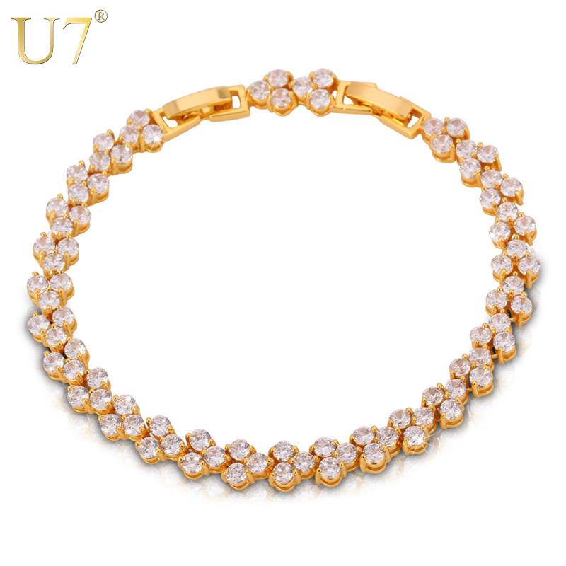 U7 Romantic Cubic Zirconia Bracelet Women Jewelry Trendy Gold Plated 17cm20cm Chain Tennis Bracelets Wholesale H546(China (Mainland))