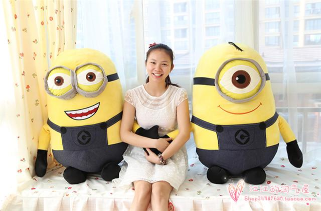 Despicable Me cartoon jeans minion plush toy,large 100cm soft hugging pillow Christmas gift h754(China (Mainland))