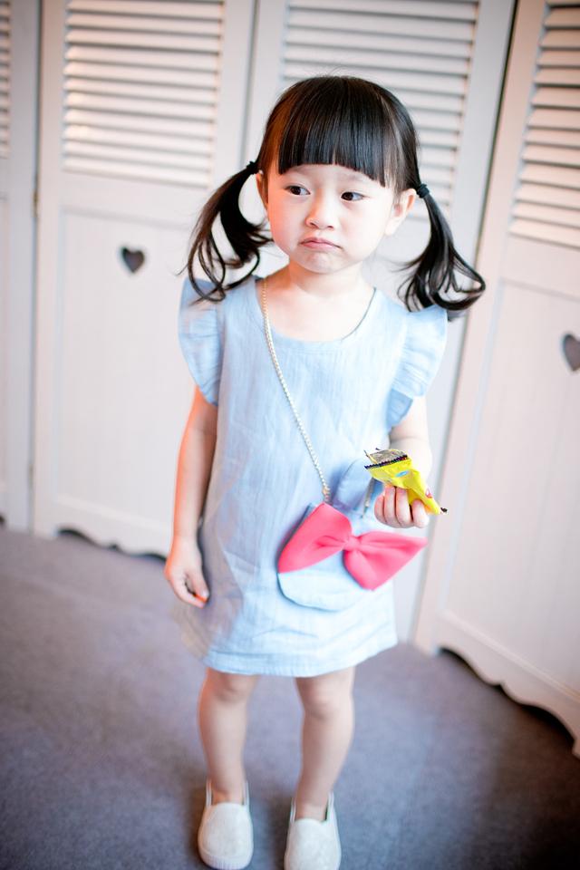 2015 New Brand Summer Girls Print Cowboy Dress Girls Beautiful Sleeveless O-Neck Princess Party Summer Dress With Bag Hot Sale(China (Mainland))
