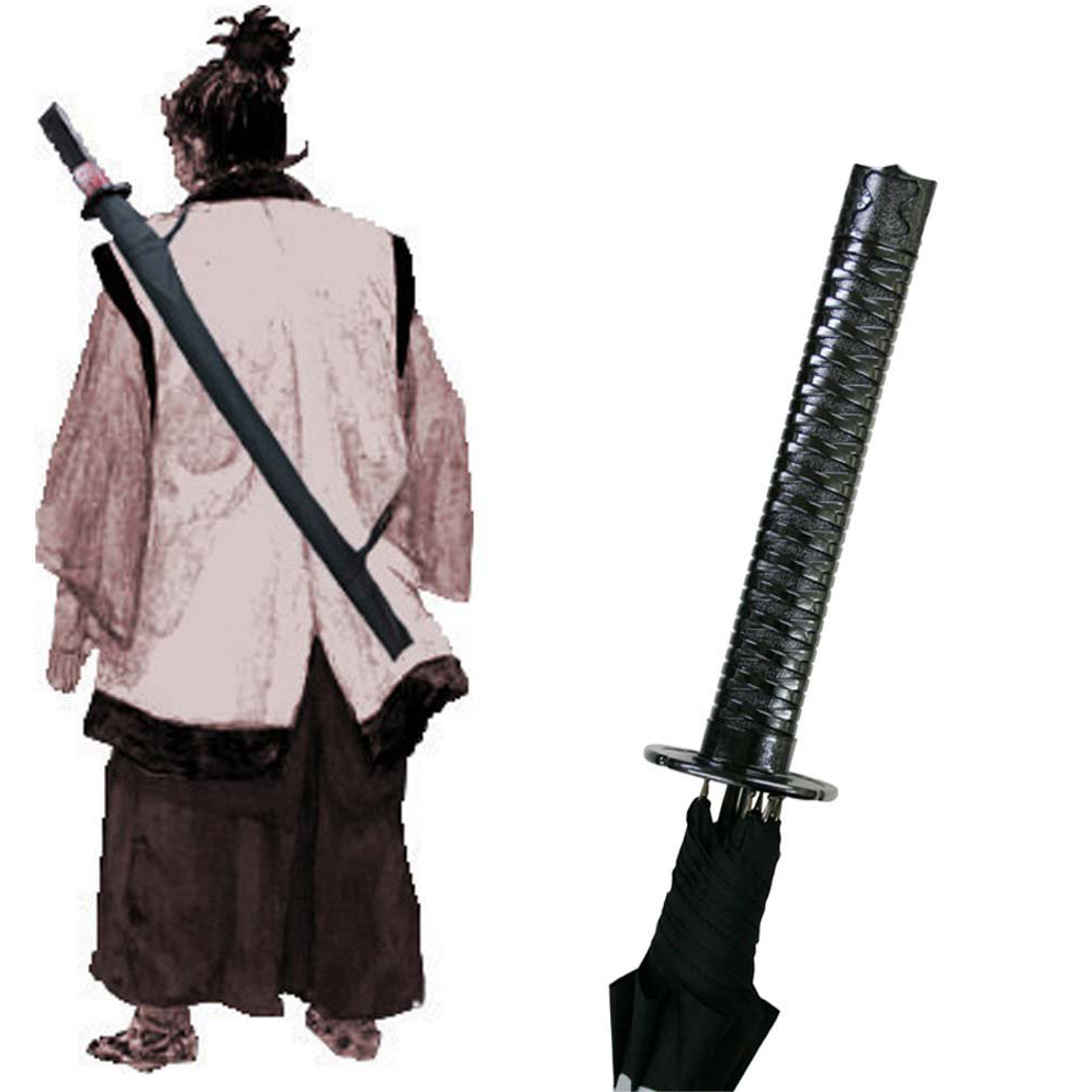 Black Samurai Sword Kantana Sun Rainny Umbrella Ninja-like Straight Long-handle Anime Mt.fuji 8/16 /24 Ribs Manual Open & Close(China (Mainland))
