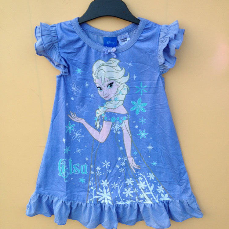 Free Shipping 6 Pieces/lot  3-7T Girl Summer Nightgown Kids Princess Blue Color Super Cute Pajamas Sleeping dress<br><br>Aliexpress