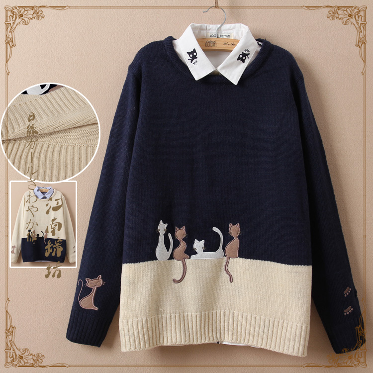 2014 new winter loose women sweater kittens cotton round neck sweater hedging long-sleeved knit sweater S040(China (Mainland))