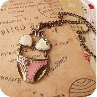549 Min.order is $15 (mix order)  Retro Bikini Set Long Necklace Free shipping Fashion Vintage jewelry 1pc