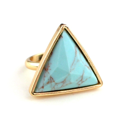 wholesale 6pcs/lot new arrival items fashion jewelry accessories big synthetic stone triangle turquoise finger rings 2015(China (Mainland))
