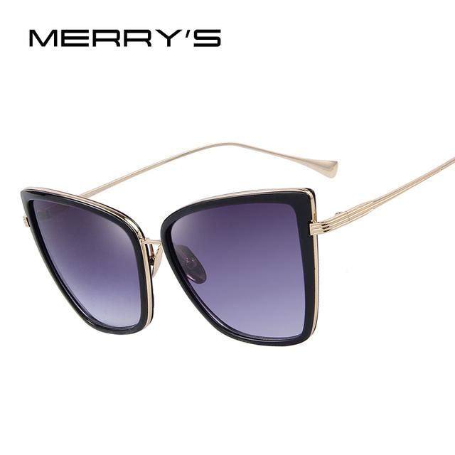 MERRY'S Женской Моде Очки Кошка Зеркало Очки Metal Cat Eye Солнцезащитные Очки ...